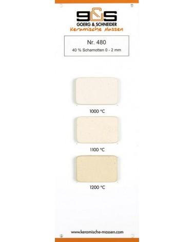 Ton 480 grob schamottiert weiß-hellcreme Brennfarben