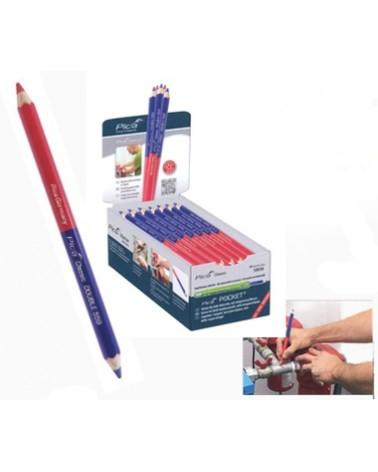 Potlood tweekleurig (rood/blauw) 180 mm per stuk
