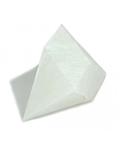 Blokje voor Oloide Albast transparant-wit hoeken gezaagd