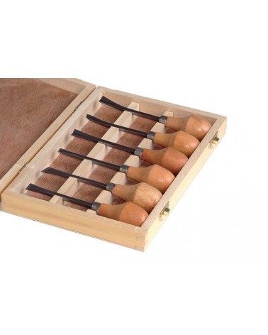 Speksteengutsenset  6 handgutsen   in houten kist