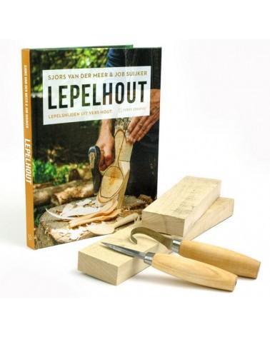 Beginnerset Lepelsnijden - compleet met boek, hout en mes