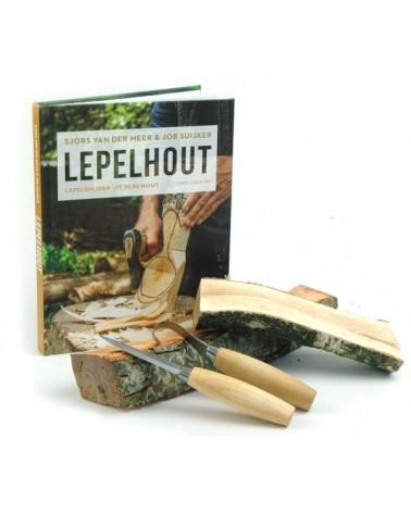 Beginnerset Lepelsnijden - vershout, boek en 2 messen